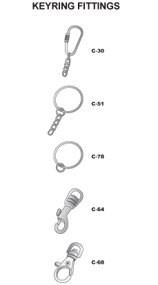 The fittings shown are just some of the styles and options that can be supplied with keyrings. There is sure to be a fitting in the range that meets your requirement