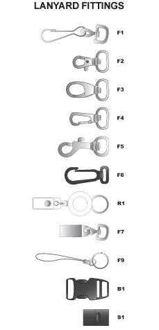 The fittings shown are just some of the styles and options that can be supplied with lanyards. There is sure to be a fitting in the range that meets your requirement